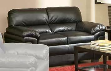 Coaster 502952 Fenmore Loveseat Plush Black Leather Like Upholstery