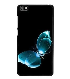 Fuson Premium 2D Back Case Cover Blue butterfly With Brown Background Degined For Xiaomi Redmi Mi5::Xiaomi Mi 5
