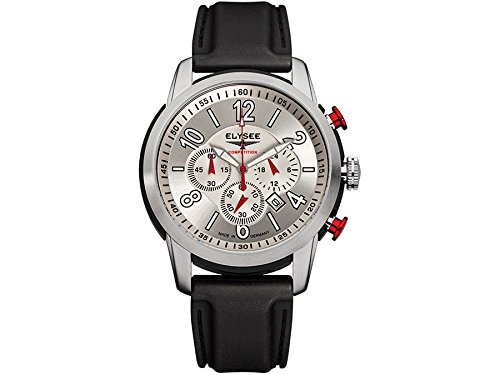 ELYSEE Made in Germany The Race I 80523L 45mm Stainless Steel Case Black Calfskin Synthetic Sapphire Men's Watch