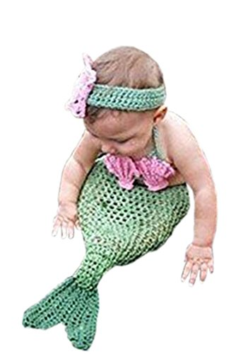 Pinbo Baby Girls Photography Prop Cute Animal Mermaid Knitted Crochet Costume Headband Bra Tail