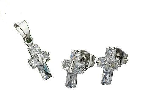 Small Crystal Cross White Gold Plated Pendant & Chain and Matching Stud Earrings Set