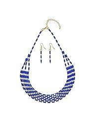 Sarah Multi-Strand Beads Choker Necklace Set For Women - Blue [Jewelry]