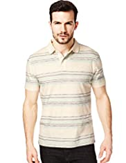 XXXL North Coast Pure Cotton Watercolour Multi-Striped Polo Shirt