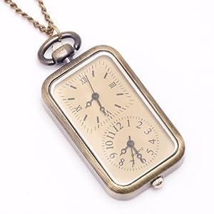 81stgeneration vendimia del collar del reloj de bolsillo con cadena larga de bronce de doble marcación marca 81stgeneration