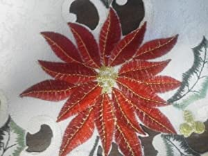 """15"""" Round Placemat or Doily with a Large Chrismas Red Poinsettia"""