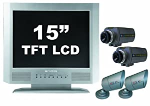 Clover Electronics TFT1504Q 15-Inch TFT LCD All-In-One Quad Observation System with 2 Indoor and 2 Indoor/Outdoor Color Cameras - Large (Black)