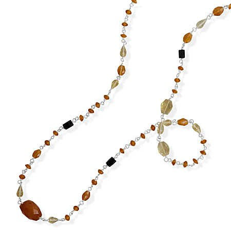 Sterling Silver 36 Inch Multistone Beaded Necklace