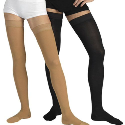 """Elastic Medical Grade Class (18 mmHg) Compression stockings, with toecap"" (Small, Beige)"