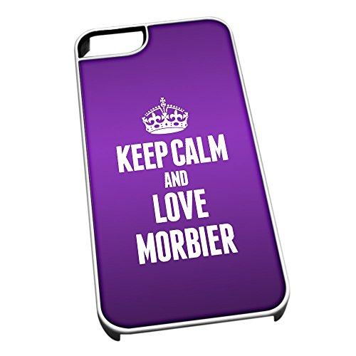 Weiß Schutzhülle für iPhone 5/5S 1291violett Keep Calm und Love morbier (Jura)