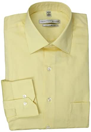 Geoffrey Beene Men's Pale Yellow Solid Dress Shirt, Buttercream, 14.5 32-33