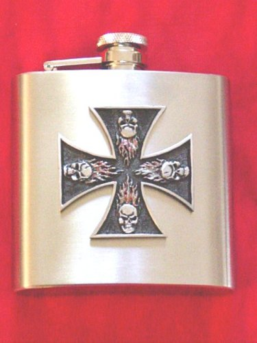 Buy Stainless Steel Flask Tattoo Style Pewter Iron Cross with Skulls