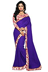 AAR VEE Purple Plain Lace Border Saree