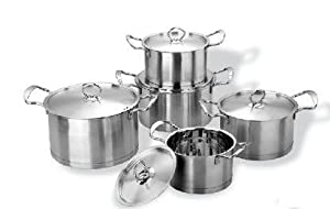Jarhill 10 PC 5 sets 4ply Encapsulated Base 2,2.7,3.7,4.4,6.6 QT Stainless Steel Saucepot
