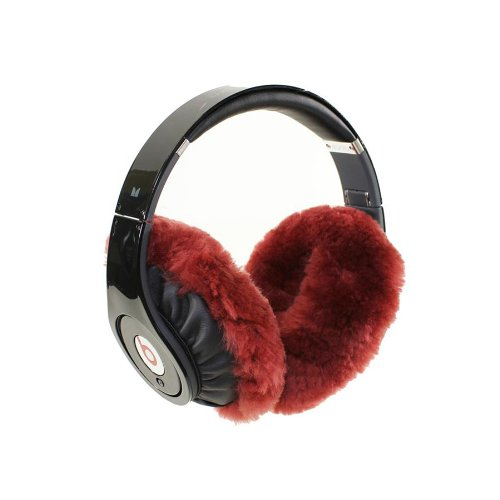 Earmuffies - Fur Earmuff Covers For Headphones - Small Sheepskin Burgundy (Fits Beats Solohd/Wireless/Mixr And Other Popular Headphones)