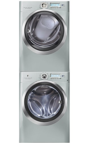"""Electrolux Wave-Touch Silver Sands Front Load Laundry Pair with EWFLS70JSS 27"""" Washer, EWMED70JSS 27"""" Electric Dryer and STACKIT4X Stacking Kit from Electrolux"""