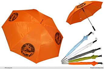 Parapluie Orange Golf chien Bull-Terrier-Blanc
