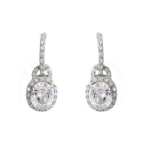 C.Z. Clear Diamond Silver Oval Charm Dangling Earrings (Nice Holiday Gift, Special Black Firday Sale)