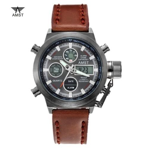 AMST 3003 Branded Military Sports Chronograph Watch with Leather Strap For Men