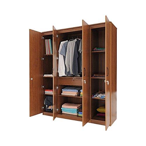 Zuari Four-Door Wardrobe (Natural Finish, Brown)