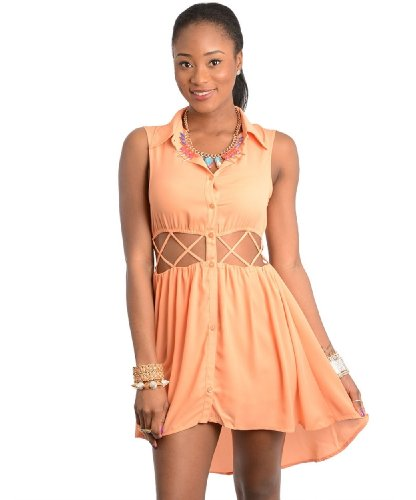 2Luv Women'S Button Front Cut Out High Low Dress Peach M(Sd119)