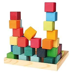 Amazon.com: Grimm's Mosaic Square of 36 Wooden Cube Blocks