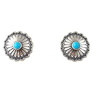Turquoise Round Concho Post Earrings Silver