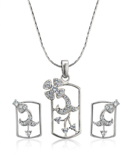 Eclat Rhodium Brass Alloy Pendant Set For Women(511161R)