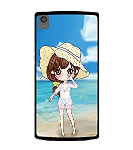 Vizagbeats Animated Girl Beach Background Back Case Cover for OnePlus X