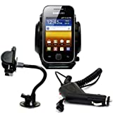 Shop4 Car Kit: Windscreen Suction Mount Holder and In Car Charger for the Samsung S5360 Galaxy Y