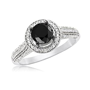 0.75 CT Round Black Diamond Solitaire Lifted Above White Halo and Band Accents Engagement Ring on 10k White Gold (1.00 ctw), Size 5