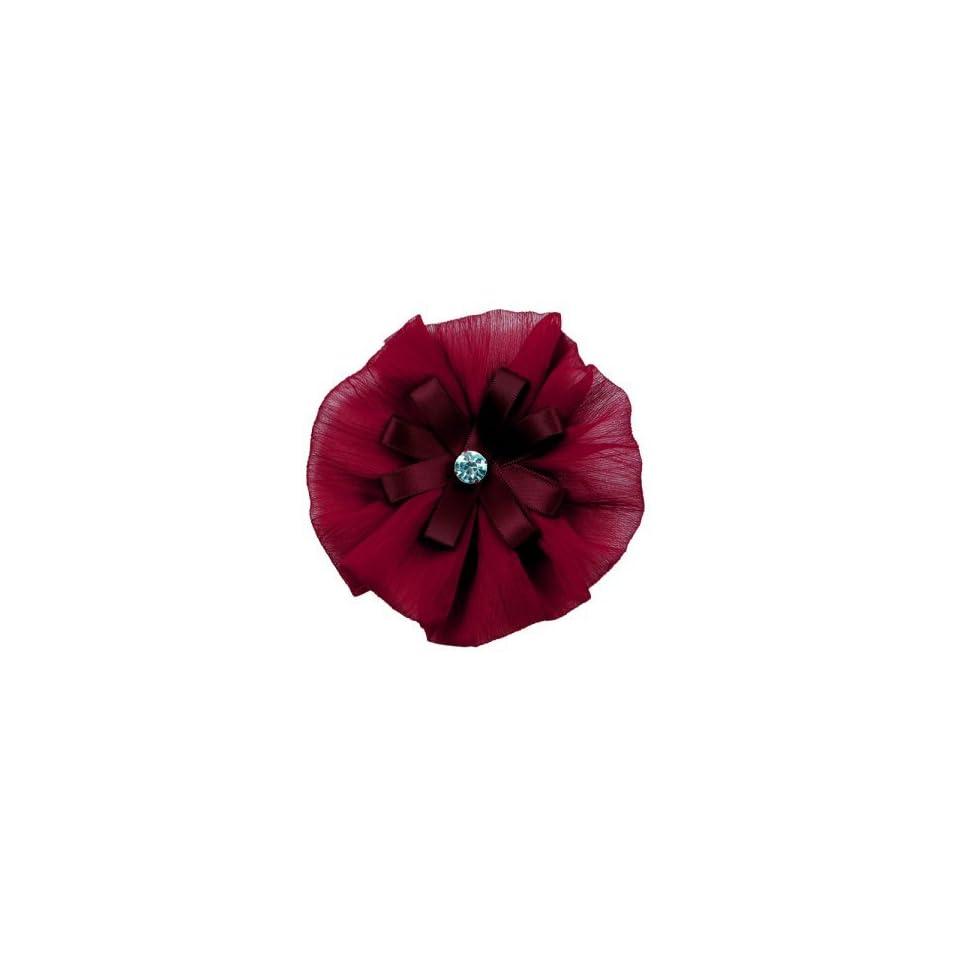Yo Yo Organza Flower with Rhinestone Brooch Pin Hair Clip Accessory