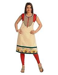 Salwar Studio Fawn & Red Cotton Chikan Ethnic Kurti SSK0426