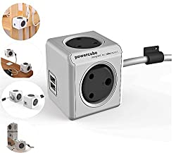 PowerCube Adapter Spike Guard with 4 [India Socket] (These is not PowerBank) Outlet 5V 2.1A Dual USB and 3 Metre Extension Cable