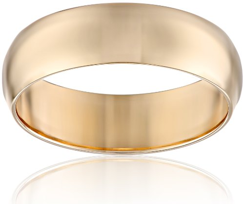 Men's 10k Yellow Gold 6mm Traditional Plain Wedding Band: Rings: Jewelry
