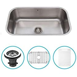Stainless Steel 30 in. Single Bowl Kitchen Sink in Stainless Steel with Grid and Strainer