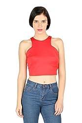 Aaliya Woman's Polyester scuba jerseyTops- Red-L