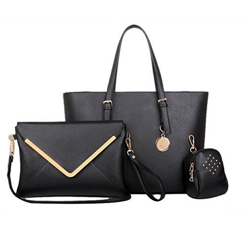 Fashion road Luxury Women's Satchel Hobo Tote Handbag Bag Purse Set, Black, 3 Piece