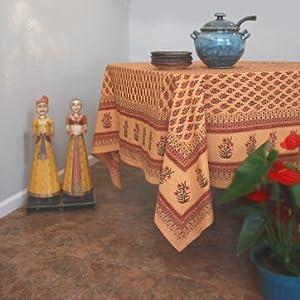 Indian Summer ~ Orange Paisley Print India Banquet Tablecloth 90x70
