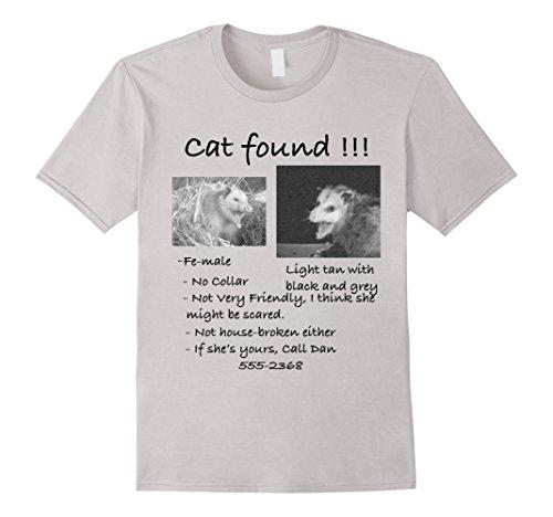 Men's Cat Found! Funny Pet Opossum Possum T-Shirt Large Silver
