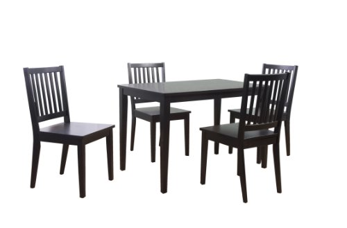 systems 5 piece shaker dining set with 4 slat back chairs and 1 dining