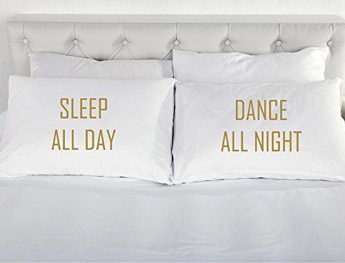 All Day Sleep Dance All Night weiß mit Gold Kissenbezug Kissen Kissenbezug Jugendliche als Geschenk