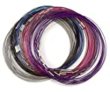 Wire Magnetic Clasp Cable Chokers Set 6 Assorted Colors