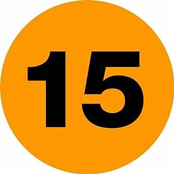 """Número DL6767 Círculo de etiquetas, la leyenda """"15"""", 1 """"de diámetro"""