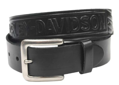 Harley-Davidson® Men's Embossed Font and Wings Black Leather Belt. 1.50-Inches Wide. Fits Most Belt Loops. HD-12. Size -28.