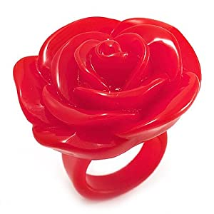 Amazon.com: Bright Red Chunky Resin Rose Ring: Jewelry