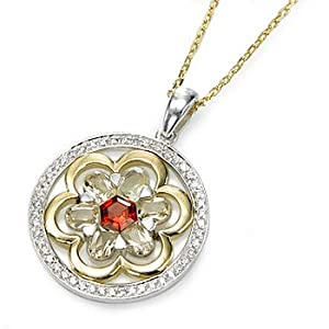 Silver Flower Pendant with Champagne Quartz and Red Garnet