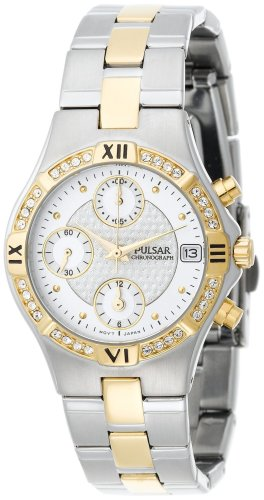 Pulsar Women's PF8212 Crystal Accented Chronograph Two-Tone Stainless Steel Watch