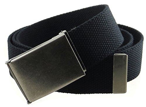 "Canvas Web Belt Flip-Top Antique Silver Buckle/Tip Solid Color 50"" Long 1.5"" Wide (Black)"