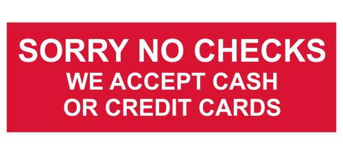 ComplianceSigns Engraved Plastic sign 8 x 3 in. with Payment Policies message - Red