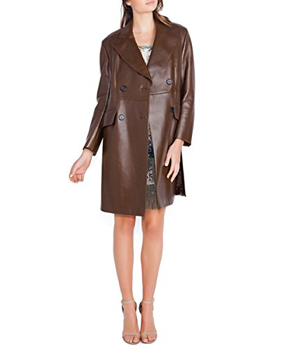 Prada Women's Brown Leather Double Breasted Trench Coat